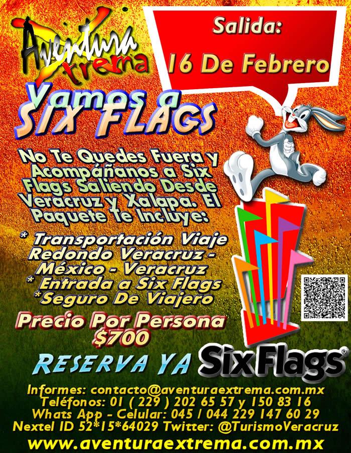 Salida a Six Flags Este 16 De Febrero Saliendo De Veracruz, Cardel y Xalapa