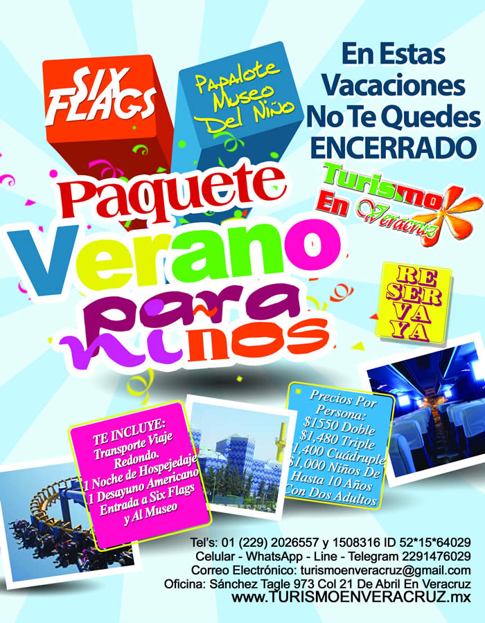 Combo Kids Six Flags y El Papalote Este 19 De Julio