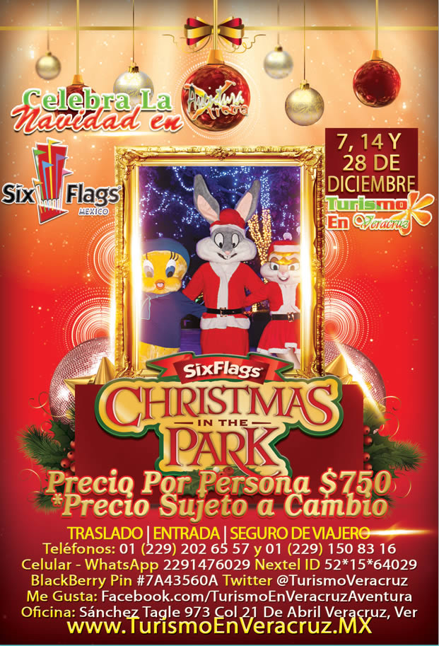 Chirstmas In The Park De Six Flags Este 7, 14 y 28 De Diciembre Saliendo De Veracruz, Cardel y Xalapa