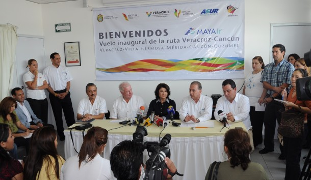 Inauguran Secturc y MAYAir primer vuelo Veracruz-Villahermosa-Mérida-Cancún-Cozumel