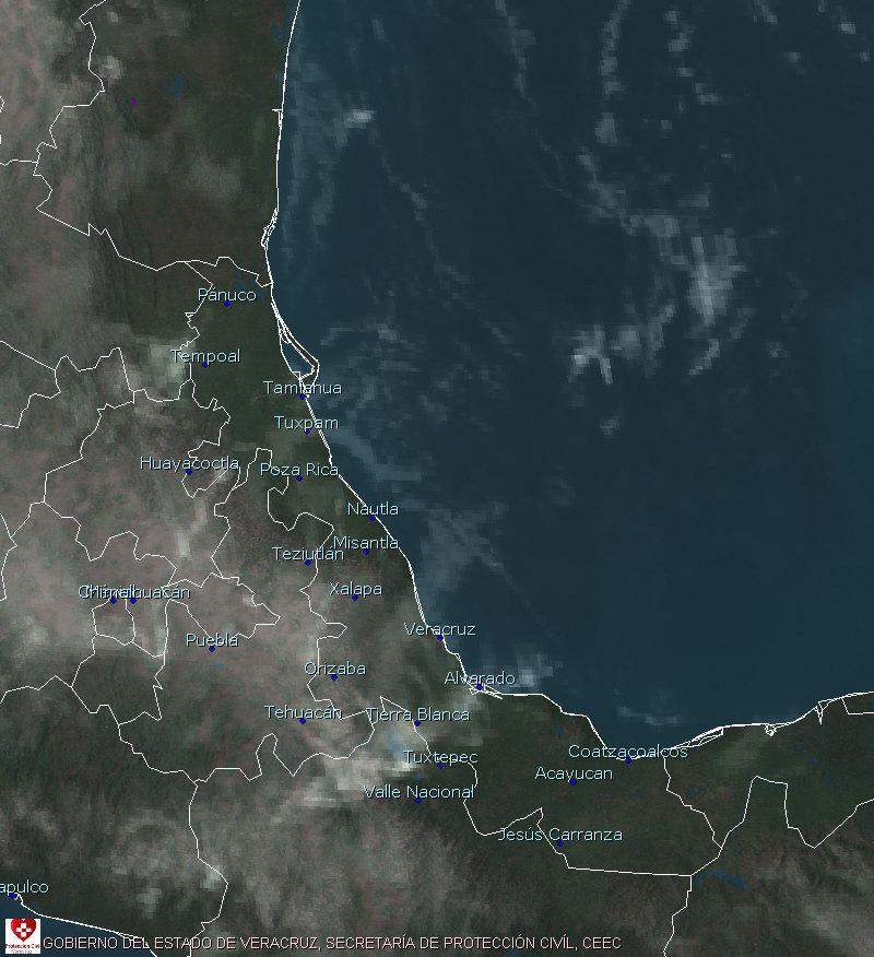 Cielo despejado a medio nublado en gran parte del estado de Veracruz