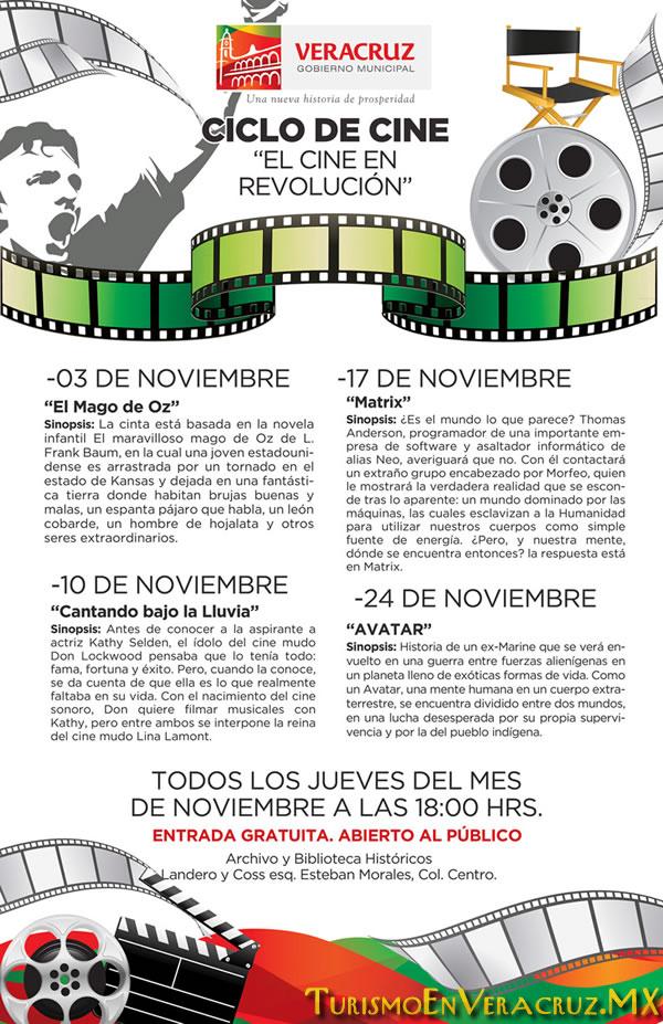 """Anuncia Ayuntamiento de Veracruz cartelera del """"Ciclo de Cine"""" en noviembre."""