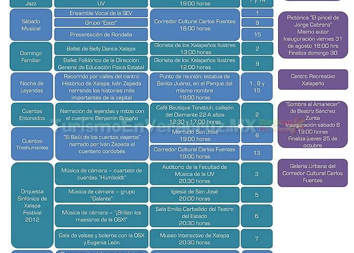 Agenda De Eventos Culturales y Turísticos De Xalapa Septiembre 2012