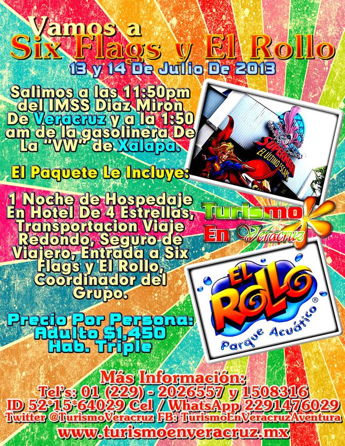 Vamos a Six Flags y El Rollo Este 13 De Julio 2013 Saliendo De Veracruz y Xalapa