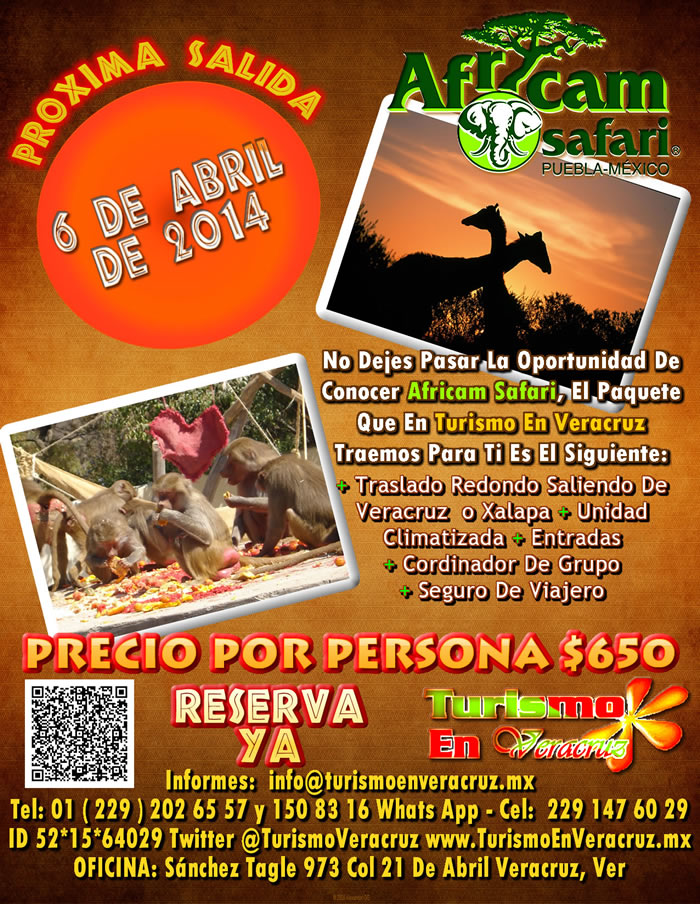 Vamos a Africam Safari Este 6 De Abril Saliendo De Veracruz, Cardel y Xalapa