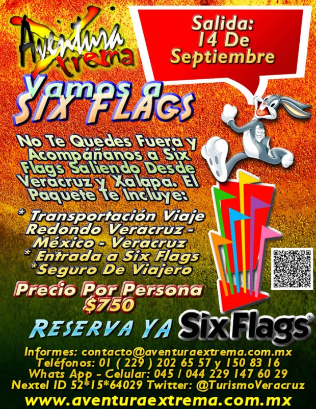 Salida a Six Flags Este 14 De Septiembre Saliendo De Veracruz, Cardel y Xalapa
