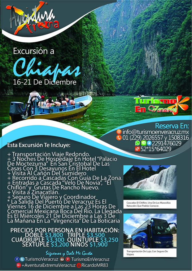 #Excursión a #Chiapas Saliendo De Veracruz En Diciembre 2016